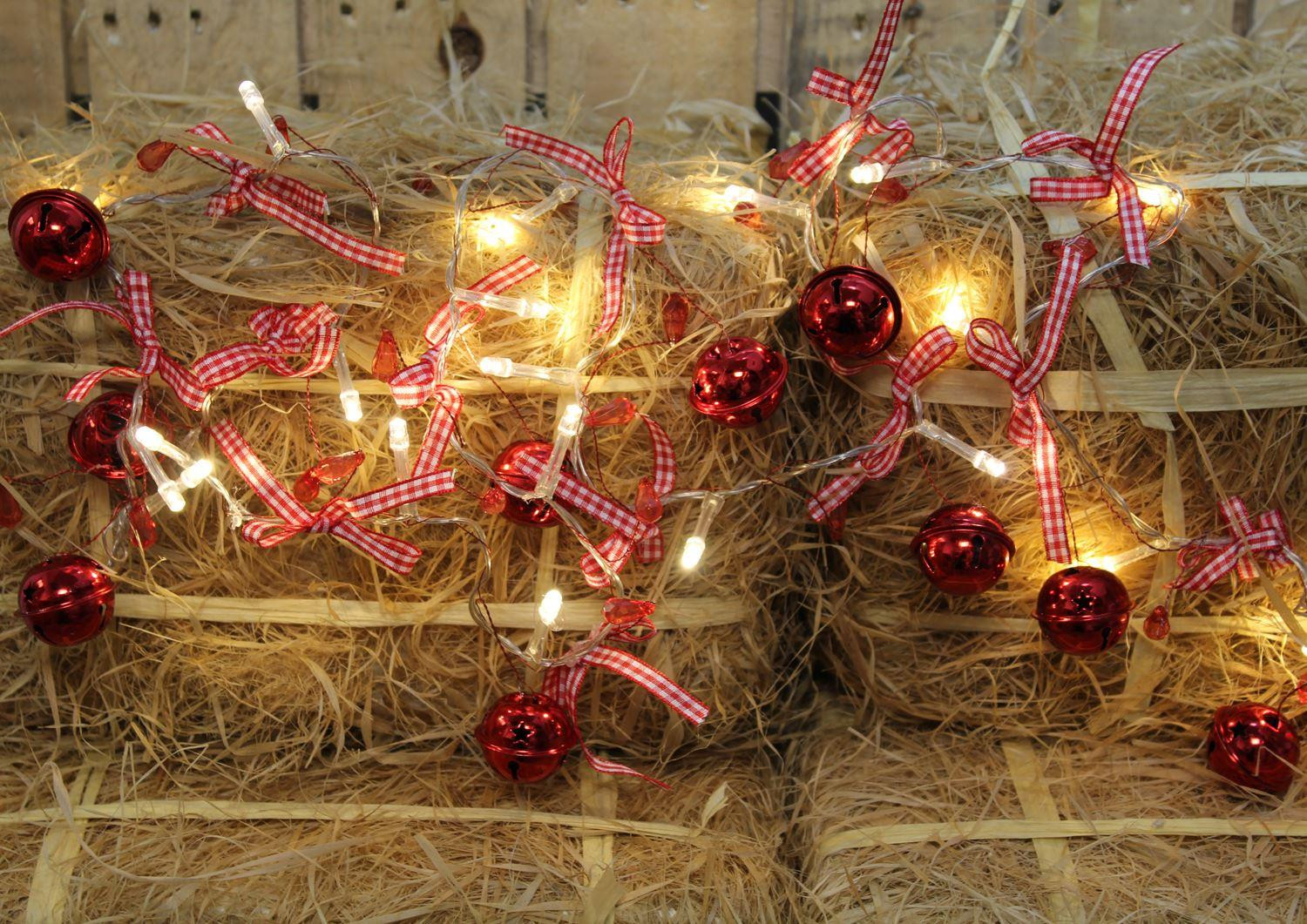 Jingle Bells LED Light String Christmas Fairy Lights Battery Operated ~ Red