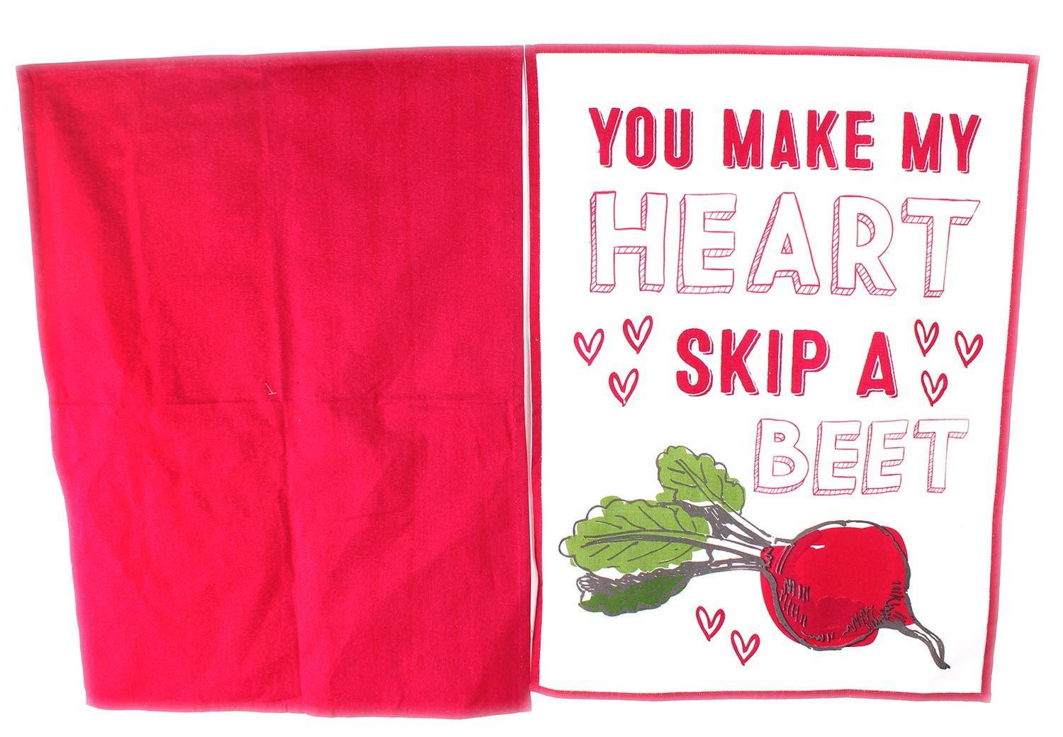 Enjoyable Heart Of The Home Set Of 2 Kitchen Tea Towels 100 Cotton You Make My Heart Skip A Beet Home Interior And Landscaping Eliaenasavecom