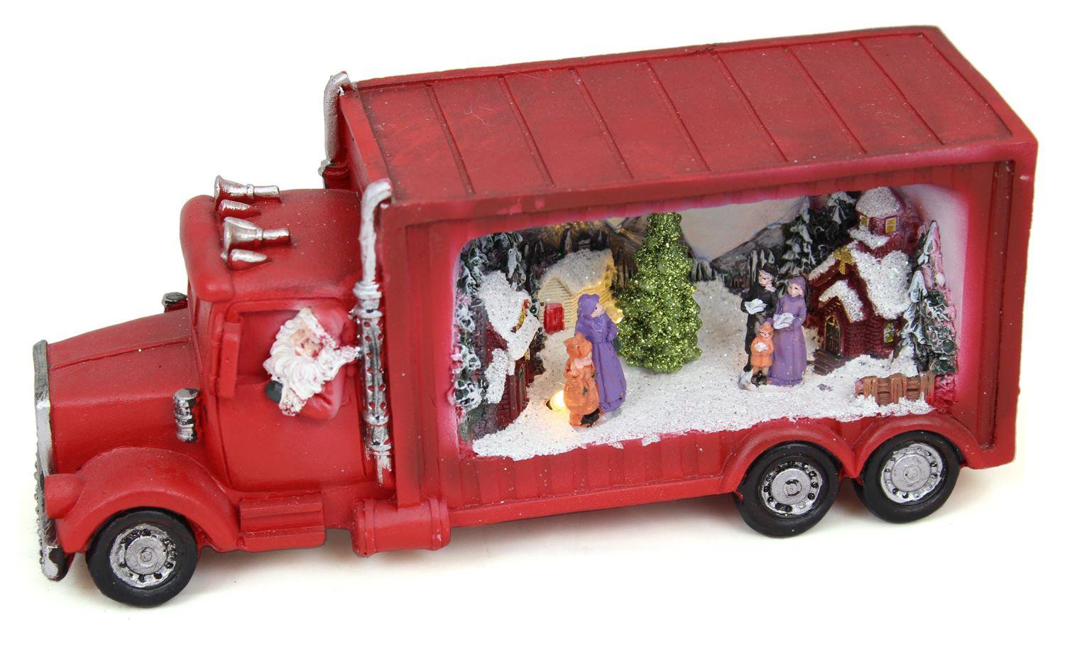 Christmas Carol Singers Decorations.Light Up Led Glitter Christmas Truck Santa Carol Singers Decoration