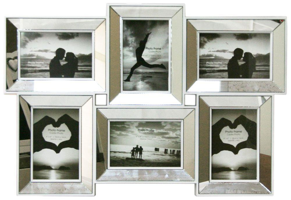 Multi Aperture Mirrored 4 X 6 Photo Frame 6 Picture Frames