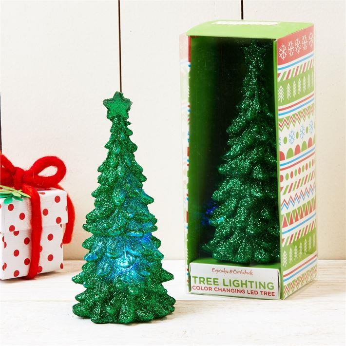 Led Light Up Colour Changing Glitter Christmas Tree Ornament