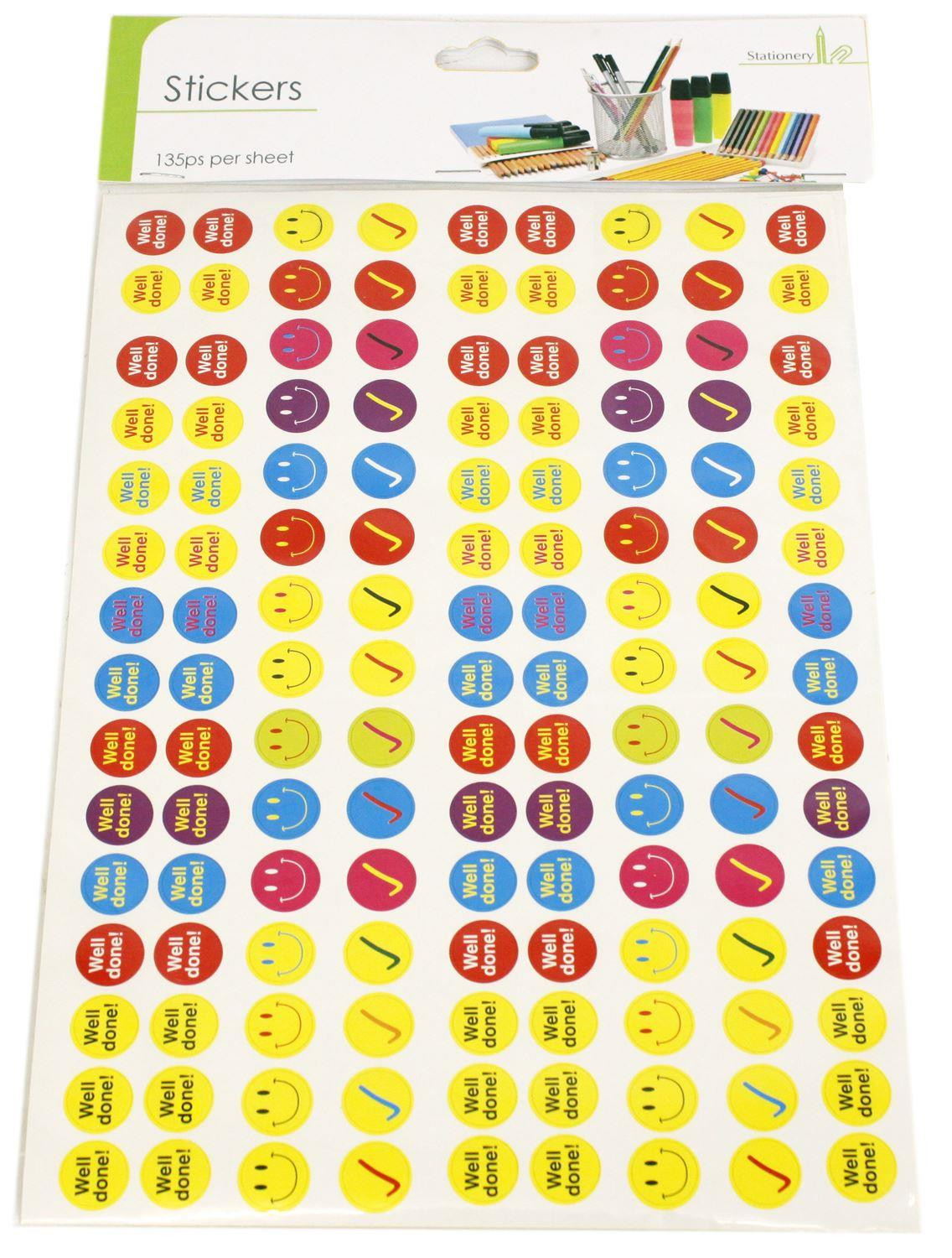Childrens Reward Chart Smiley Face Well Done Stickers 2 Sheets