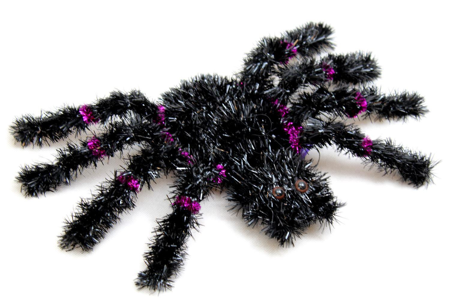 Haunted House Large Scary Tinsel Spider Hanging Halloween Decoration With  Hanging Elastic ~ Colour Vary