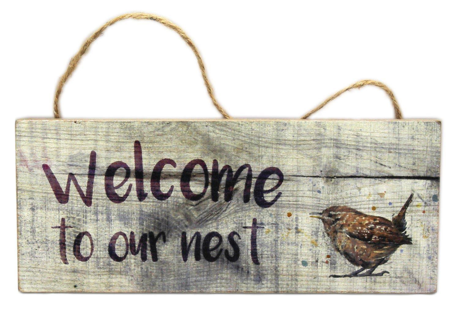 Shabby Chic Hanging Wooden Welcome To Our Nest Sign