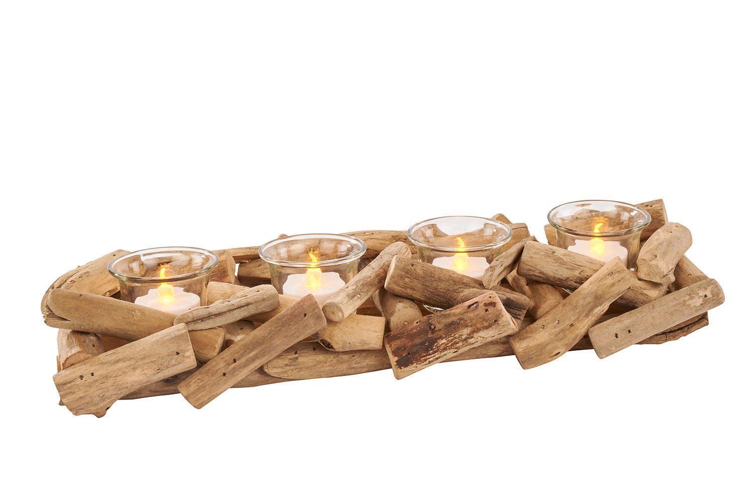 Driftwood 4 Piece Multi Tealight Candle Holders Lovely Nautical Tea Light Candle Pots