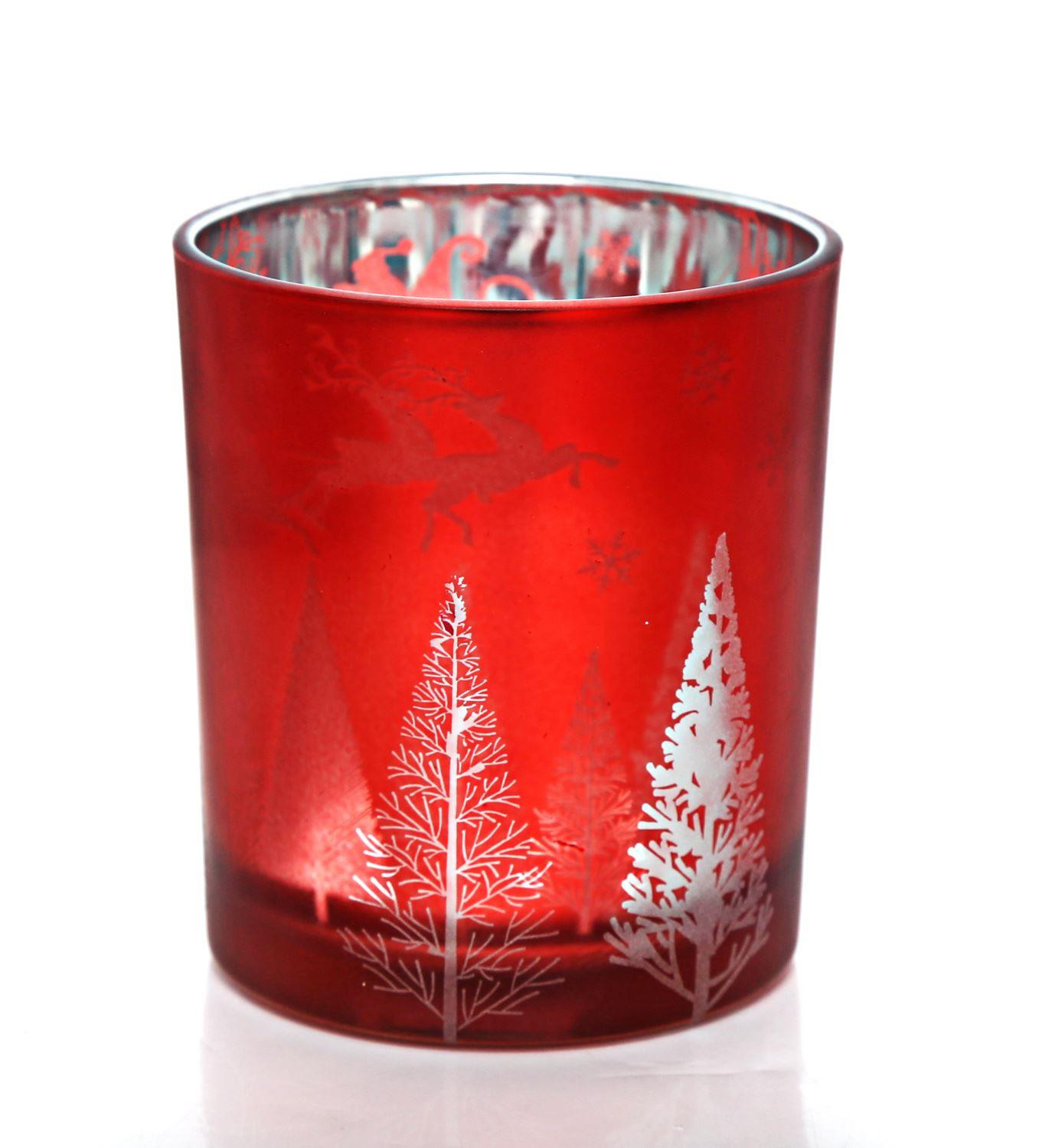 Red Frosted Glass Christmas Scene Candle Pot Tealight Holder