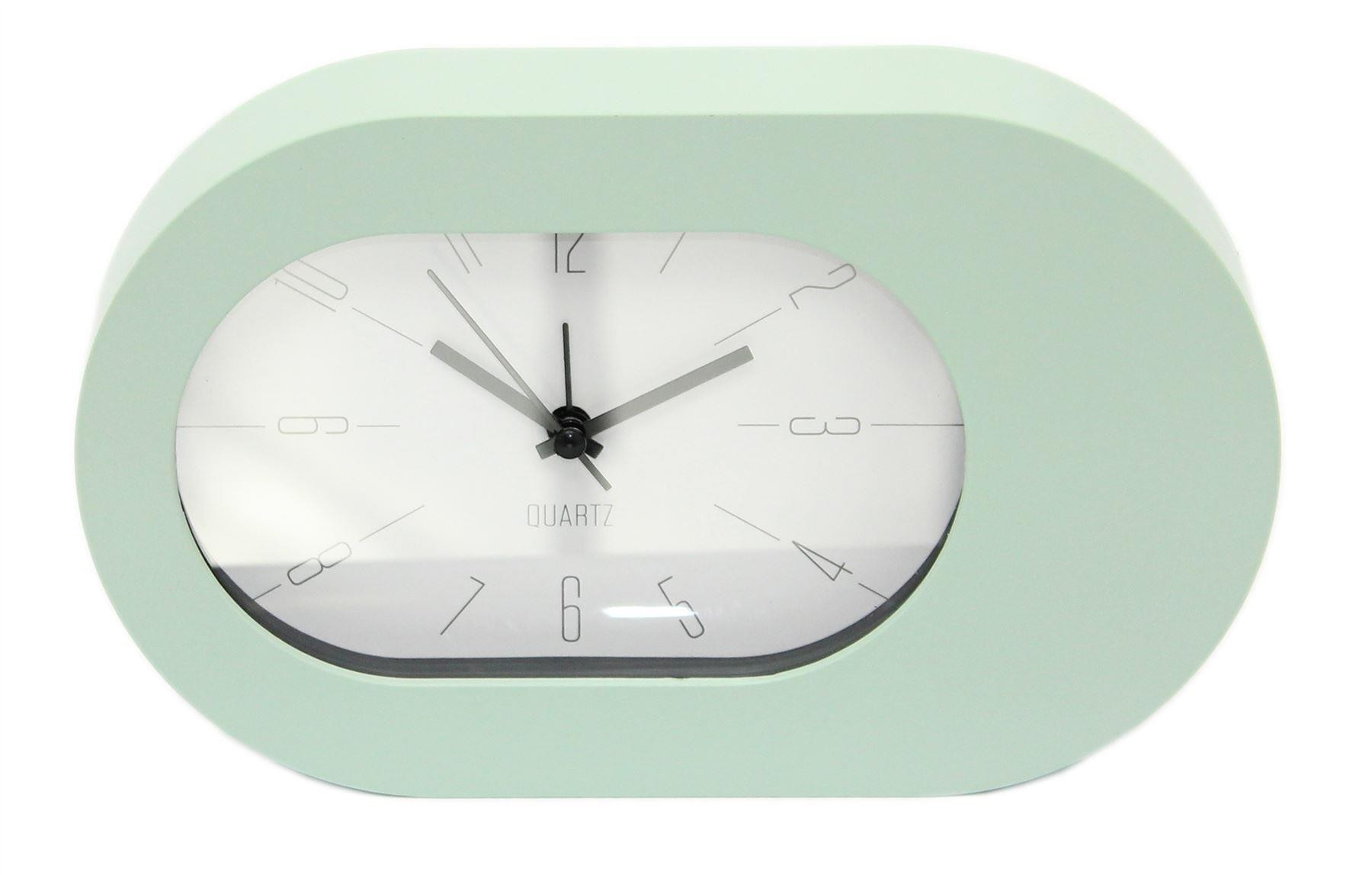 Oval Analogue Bedside Alarm Clock Modern Desk Clock Green