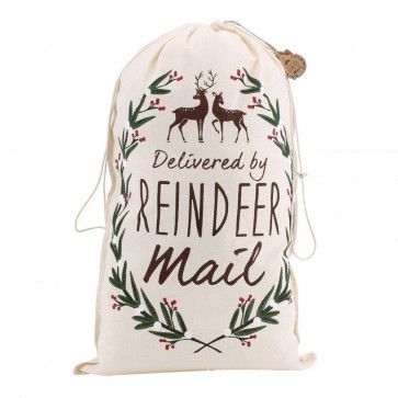 Canvas Santa Sack For Christmas Presents ~ Delivered By Reindeer Mail