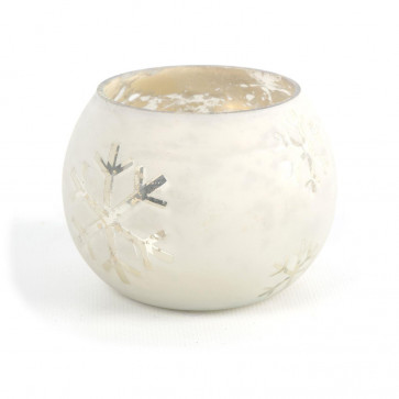 Mottled Mercury Round Frosted Silver Snowflake Tealight Candle Holder