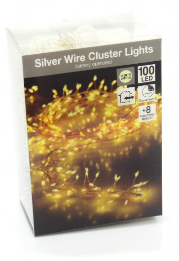 Decorative Silver Wire LED Cluster Fairy Lights - 100 Warm White Battery Operated Mini Micro String Lights