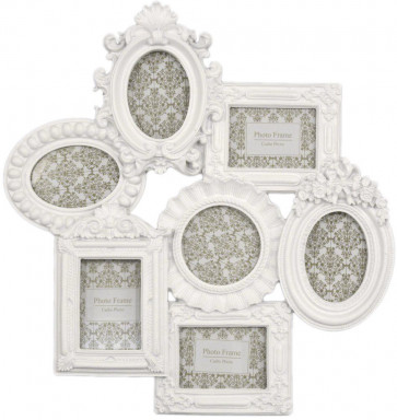 Ornate White Multi Photo Frame ~ Moulded Collage Frame