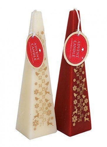20cm Pyramid Count Down To Christmas Advent Candle - colours vary