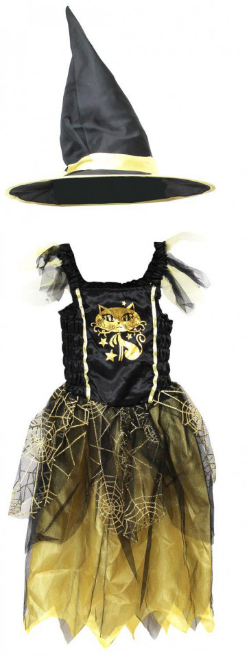 Haunted House Girls Halloween Outfit Dress Up Set ~ Black And Gold Cat Witchs Dress With Witches Hat - 7-9 Years