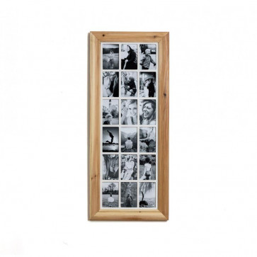 Deluxe 18 Aperture Solid Pine Wood Hanging Multi Photo Picture Frame ~ Natural Brushed Pine
