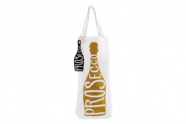 Gold Glitter 'Prosecco' Wine Champagne Bottle Gift Tote Bag