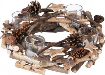 Rustic Wooden Wreath Christmas Tealight Candle Holder Decoration Centerpiece With 4 Glass Holders