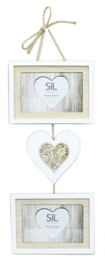 "Hanging Double Wooden Ornate Heart Photo Frame 4"" x 6"""