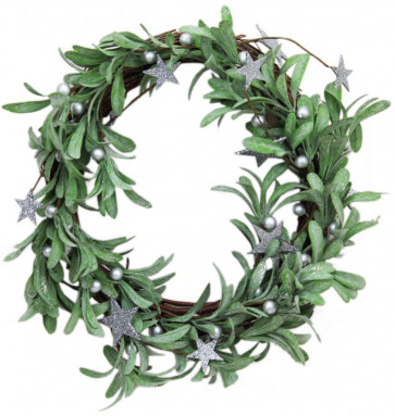 Festive Christmas Silver Glitter Star Mistletoe Door Wreath 36cm