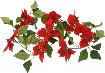 Poinsetta Christmas Garland Fireplace Decoration Swag With 8 Flowers - 180cm
