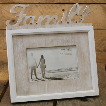 Shabby Chic White Lime Wash Word Photo Frame ~ Family