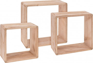 Set of 3 Floating Square Cube Box Shelves Display Rack Storage Set
