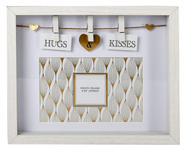 Clothes Line White Wooden Box Frame With Pegs For 6 x 4 Photo ~ Hugs And Kisses