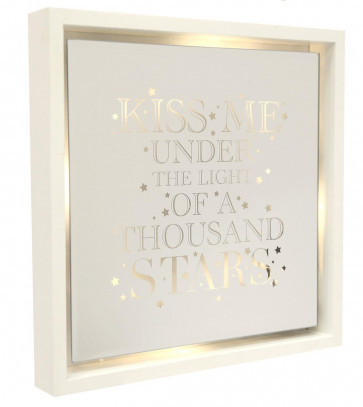 White Wooden Light Up LED Mirror Frame Hanging Quote 30cm ~ Kiss Me