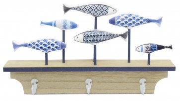 Seaside Nautical Fish Decoration With Wooden Coat Hook Rack Key Holder