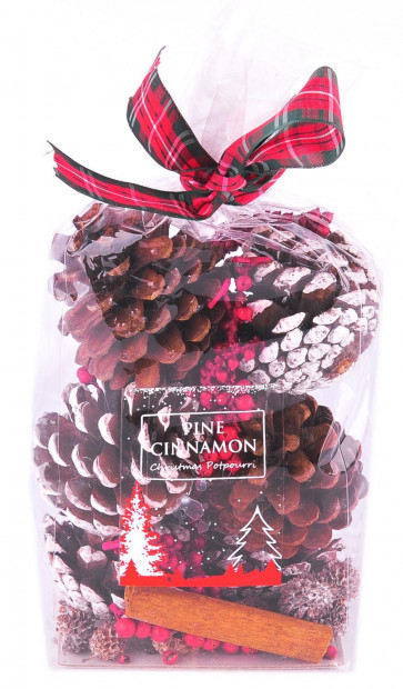 Red Berry Dusted Snow Natural Pinecone Scented Christmas Pot Pourri