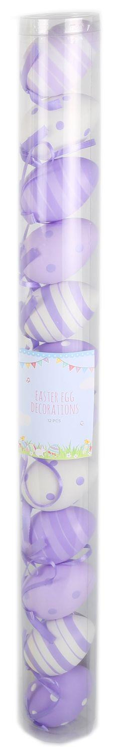 Easter Tree Display Egg Decorations - 12 Pretty Pastel Patterned 7Cm Hanging Easter Eggs - Purple