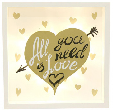 Gold Light Up Box Frame LED Sign Hanging Wall Plaque 20cm x 20cm ~ All You Need Is Love