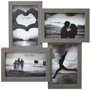 4 Multi Tonal Plastic Photo Frame - Dark Grey