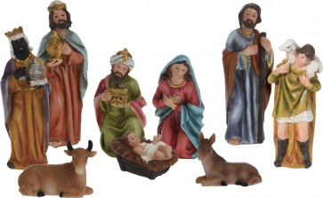 Traditional Nativity Set With 9 Detailed Figurines