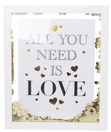 White Wooden Gold Heart Confetti Decorative Box Printed Quote Frame 32cm ~ All You Need Is Love