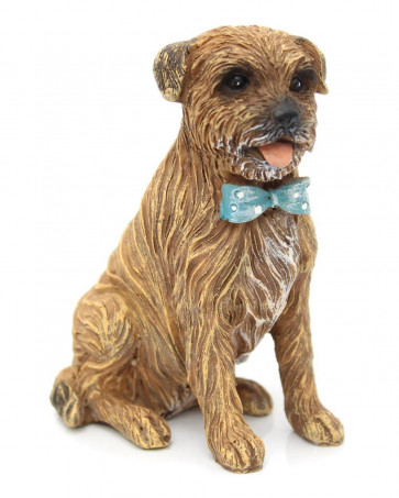 Charming Dog Figurine Statue Ornament ~ Resin Sculpture Animal Decoration ~ Brown Terrier Dog