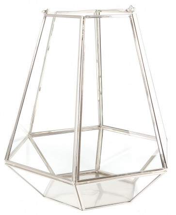 Hanging Clear Glass Hexagonal Terrarium Tealight Candle Decorative Lantern With Silver Iron Frame 27Cm X 28Cm