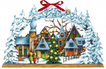 Deluxe Traditional Card Advent Calendar Large - The Alpine Christmas Village