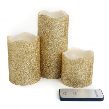 Set Of 3 Sparkle Gold Remote Controlled Flameless LED Battery Powered Candles With Glitter