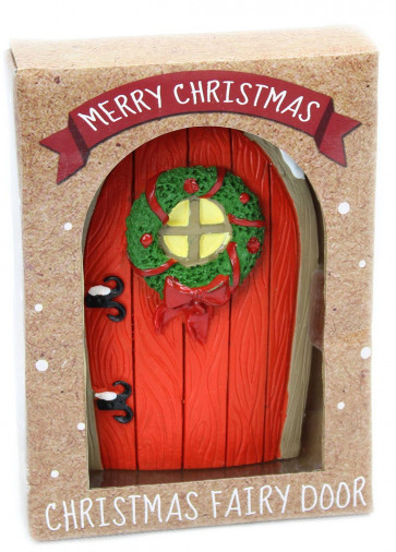 Resin Magical Christmas Fairy Door Miniature Doorway For Skirting Boards ~ Red