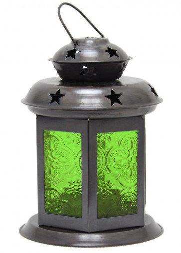 Pretty Moroccan Lantern Tealight ~ 14cm Tealight Candle Holder - Green