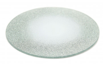 Round Glitter Glass Mirror Candle Plate Stand - Silver Sparkle Candles Coaster 15cm