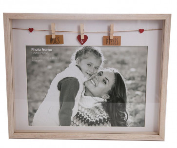 Clothes Line Wooden Box Picture Frame With Pegs For A4 Photo Print ~ Hugs and Kisses
