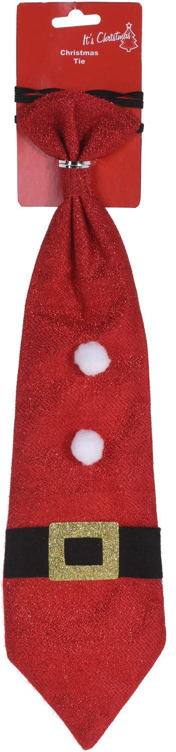 Novelty Festive Father Christmas Elf Office Party Celebration Glitter Tie - Red
