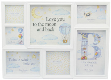 6 Aperture Printed Glass Baby Hanging Multi Photo Picture Frame - Baby Boy Blue