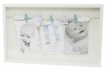New Baby Triple Clothes Line Peg Wooden Box Photo Picture Frame - Blue Baby Boy