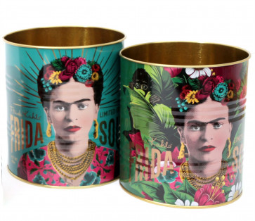 Set Of 2 Frida Kahlo Retro Storage Tin ~ Decorative Display Can ~ Turquoise and Green