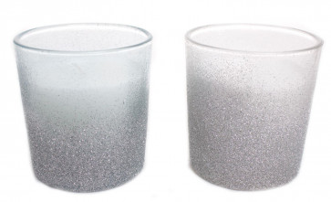 Glass Glitter Christmas Candle Pot Table Decoration 7cm x 7.5cm - Colours Vary