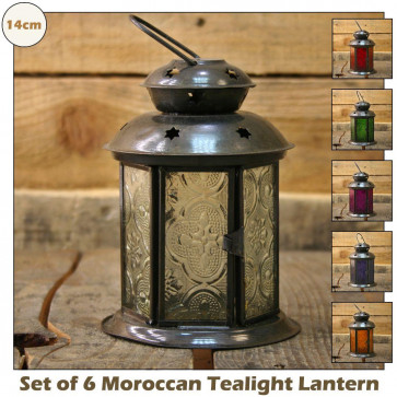 Set of 6 Pretty Moroccan Tealight Lantern ~ 14cm Tealight Candle Holder