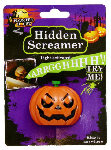 Haunted House Battery Operated Light Activated Halloween Hidden Screamer With Sucker ~ Pumpkin