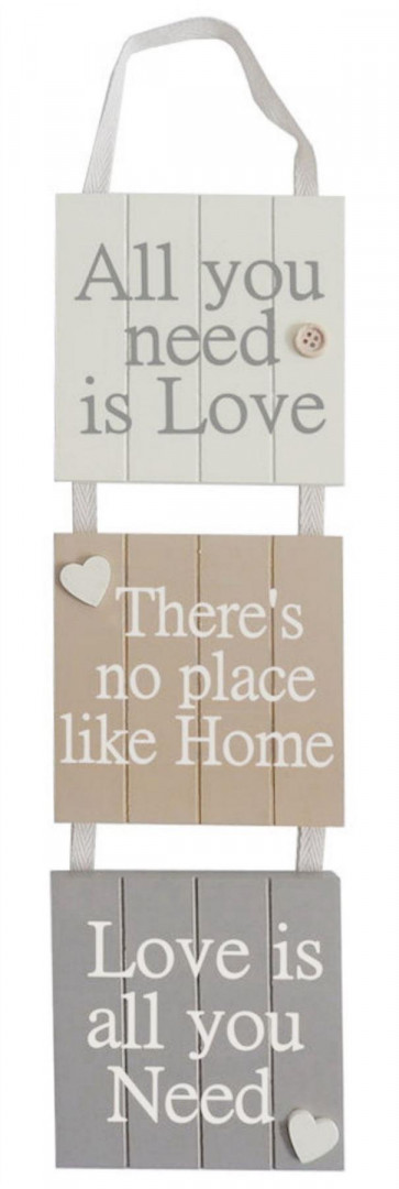 Delightful 3 Piece Wooden Hanging Sign with Positive Quotes - All You Need is Love